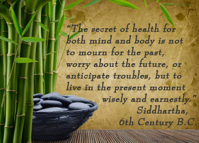 The secret of health for both mind and body is not to mourn for the past, worry about the future, or anticipate troubles, but to live in the present moment wisely and earnestly. -Siddhartha, 6th Century B.C.